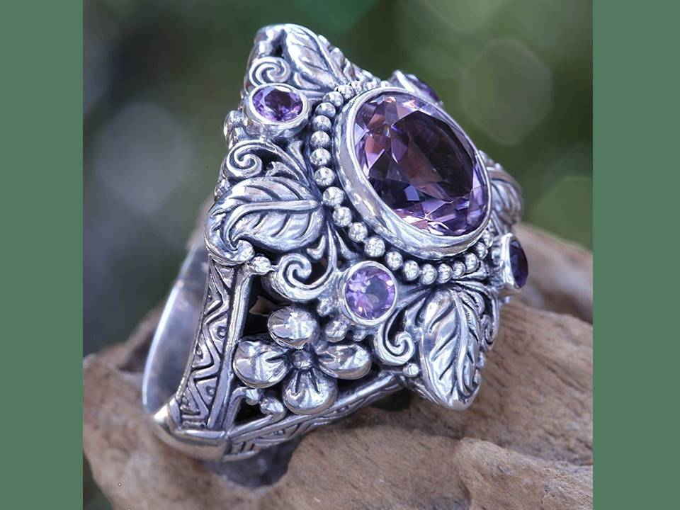 Amethyst Filigree Ring - Lunga Vita Designs