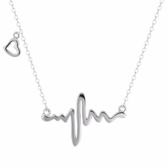 BE STILL MY HEART....ELECTROCARIOGRAM NECKLACE | SILVER