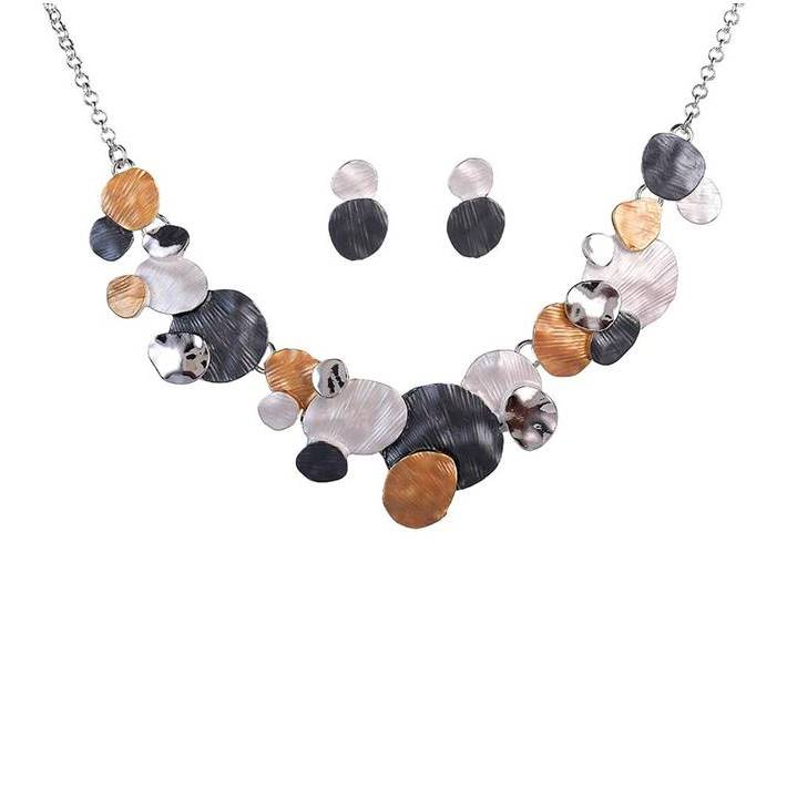 Circles of Grey, Mustard and Silver Tone Necklace and Earrings Set - Lunga Vita Designs