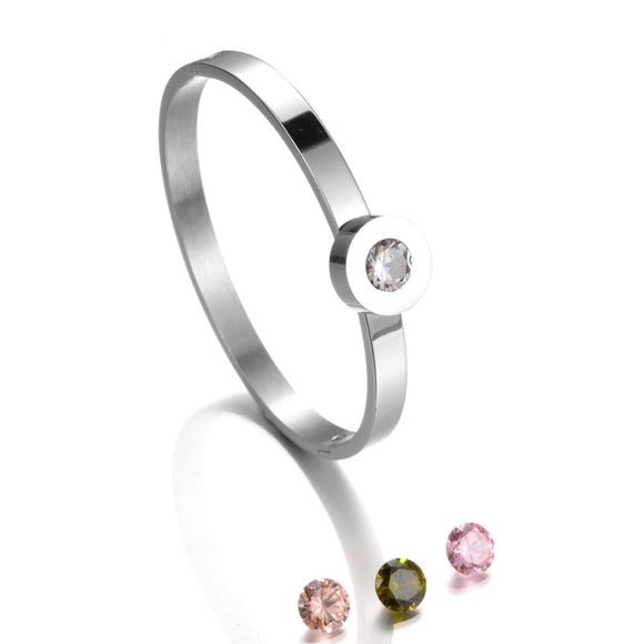 Stainless Steel Bangle with Interchangeable Cubic Zirconia | Silver - Lunga Vita Designs