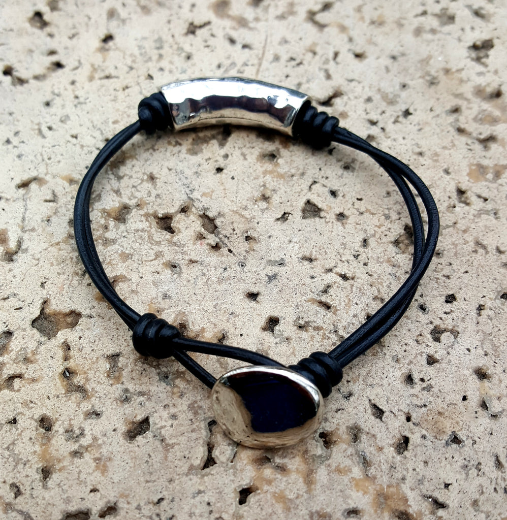 Leather Cord and Silver Tube Bracelet with Button Closure | Black - Lunga Vita Designs