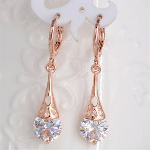 Rose Gold Elegant Drop Lever Back Earrings with Cubic Zirconia | Clear - Lunga Vita Designs