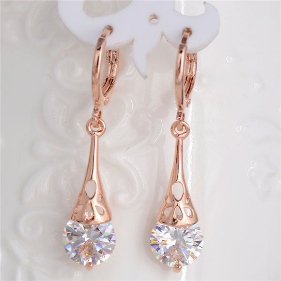 ROSE GOLD ELEGANT DANGLE EARRINGS WITH CLEAR CUBIC ZIRCONIA