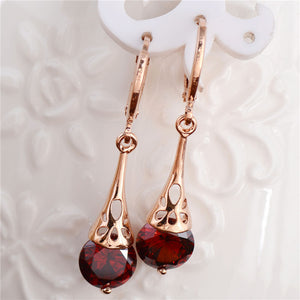 ROSE GOLD ELEGANT DANGLE EARRINGS WITH RED CUBIC ZIRCONIA