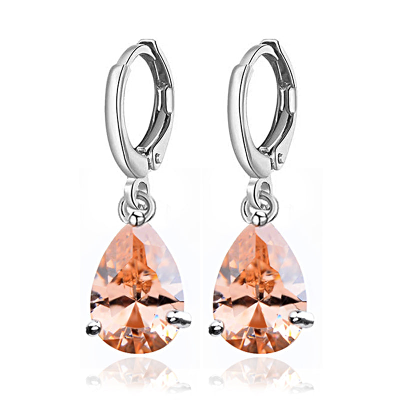 Crystal Teardrop Dangle Lever Back Earrings | Champagne - Lunga Vita Designs