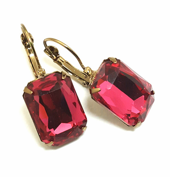 FACETED RECTANGLE CRYSTAL LEVERBACK EARRINGS - ROSE