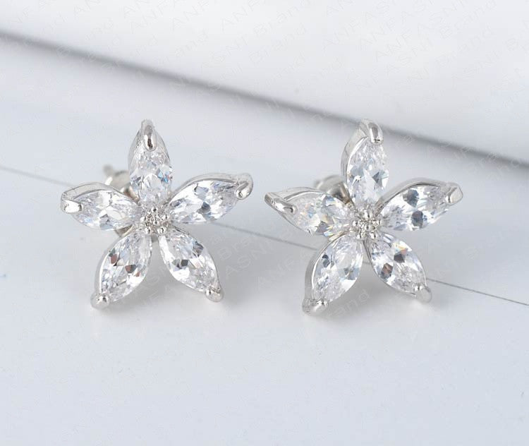 Five Petal Flower Clear Cubic Zirconia Post Earrings - Lunga Vita Designs