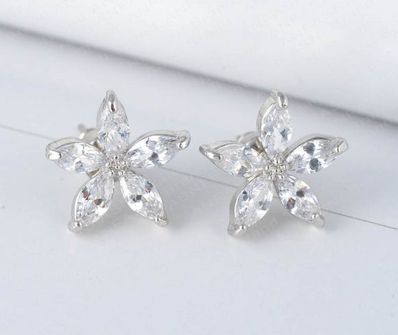 CUBIC ZIRCONIA FIVE PETAL FLOWER EARRINGS