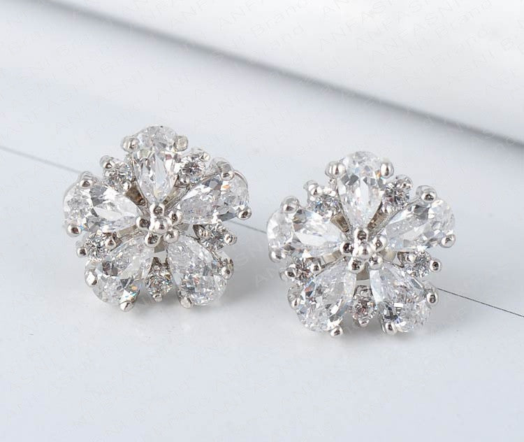 Romantic Clear Cubic Zirconia Post Earrings - Lunga Vita Designs