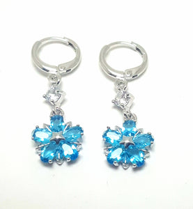 DELICATE AQUA FLOWER CUBIC ZIRCONIA LEVERBACK EARRINGS