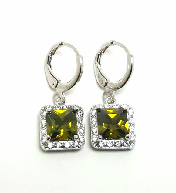 SQUARE CUBIC ZIRCONIA DANGLE EARRINGS | OLIVE