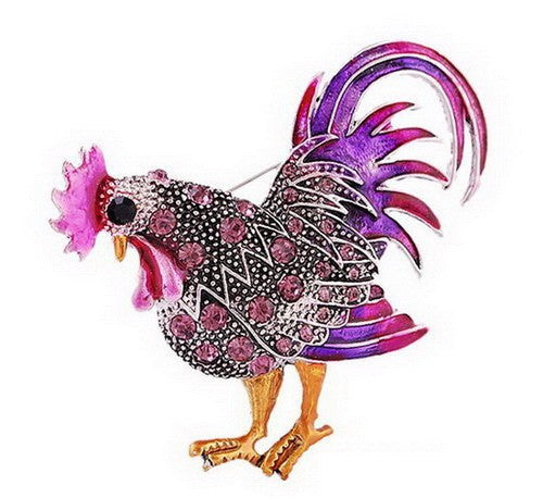 ENAMEL CRYSTAL ROOSTER BROOCH - PURPLE