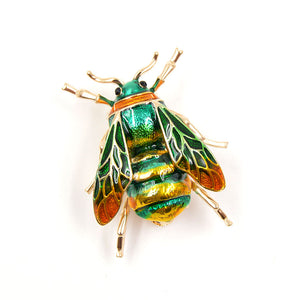 Colorful Small Enamel Bee Brooch | Green - Lunga Vita Designs