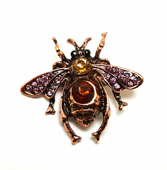 ROSE GOLD BEE BROOCH - PURPLE AND TOPAZ
