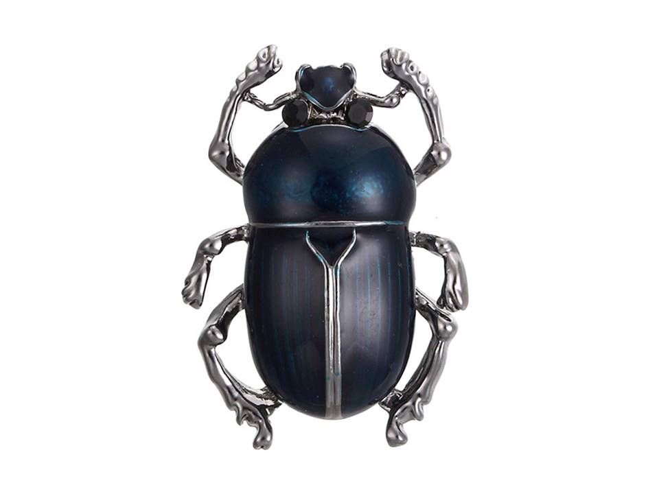 Beetle Brooch | Blue - Lunga Vita Designs