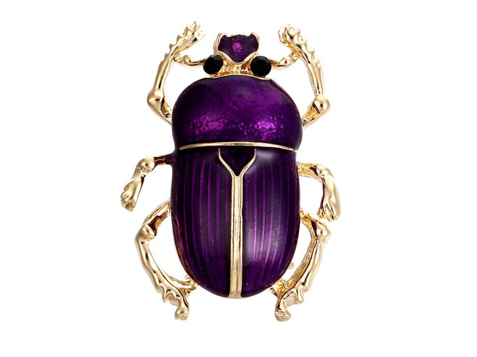 Beetle Brooch | Purple - Lunga Vita Designs