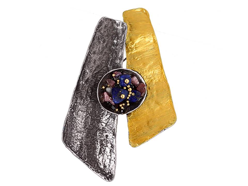 Textured Pewter and Yellow Enamel Brooch - Lunga Vita Designs
