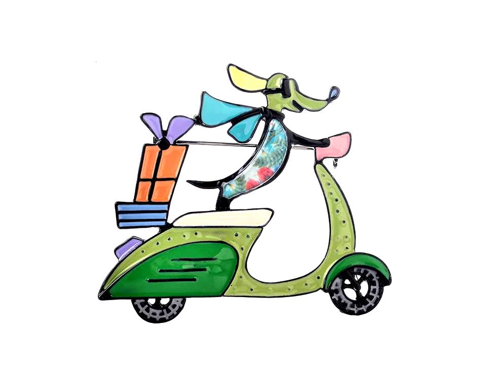 Dog on a Scooter Colorful Enamel Brooch - Lunga Vita Designs