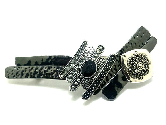 Gun Metal and Silver Mixed Texture Hair Barrette - Lunga Vita Designs