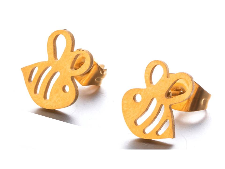 Bee Mine Stainless Steel Post Earrings | Gold Plated - Lunga Vita Designs