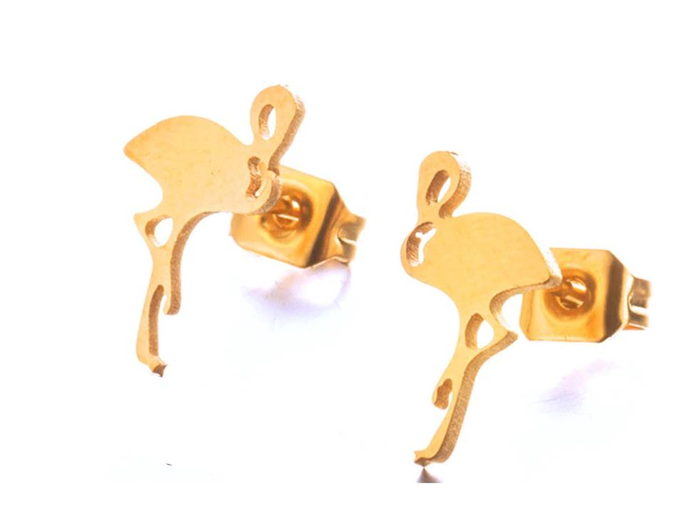 Petite Flamingo Plated Stainless Steel Post Earrings | Gold - Lunga Vita Designs