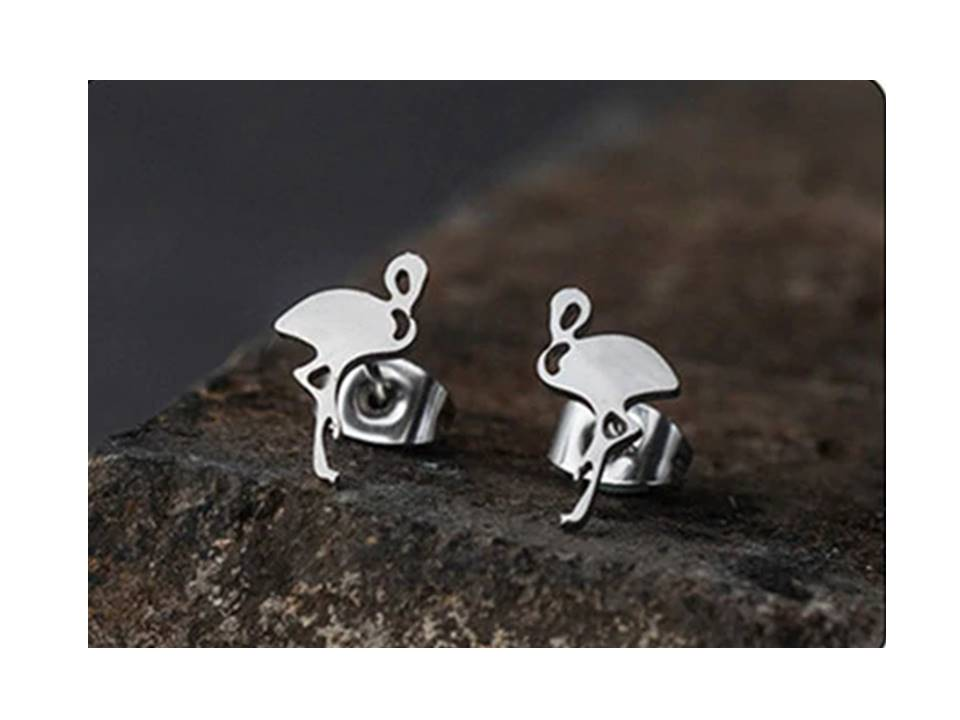 Petite Flamingo Stainless Steel Post Earrings | silver - Lunga Vita Designs