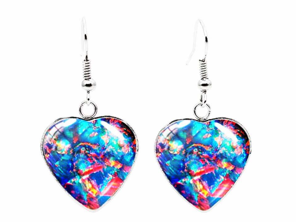 Glass and Stainless Steen Heart Shaped Dangle Earrings | Blue Mix - Lunga Vita Designs