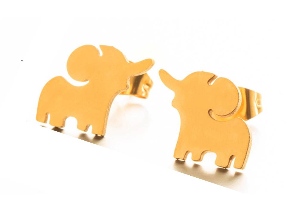 Tiny Happy Elephant Gold Plated Stainless Steel Post Earrings | Gold - Lunga Vita Designs