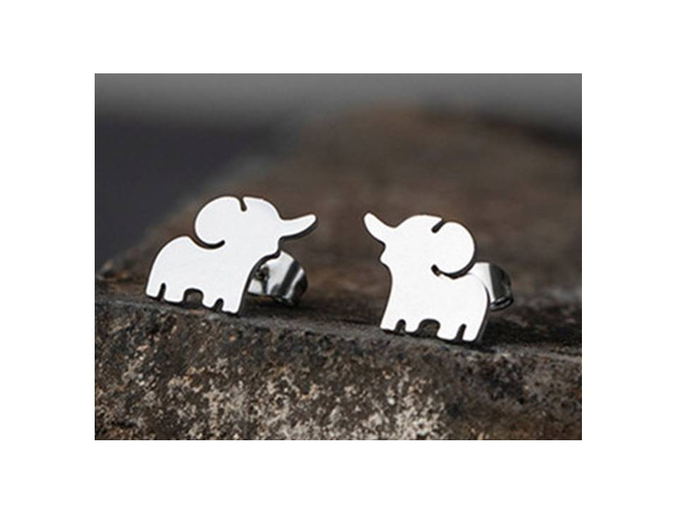 Tiny Happy Elephant Stainless Steel Post Earrings | Silver - Lunga Vita Designs