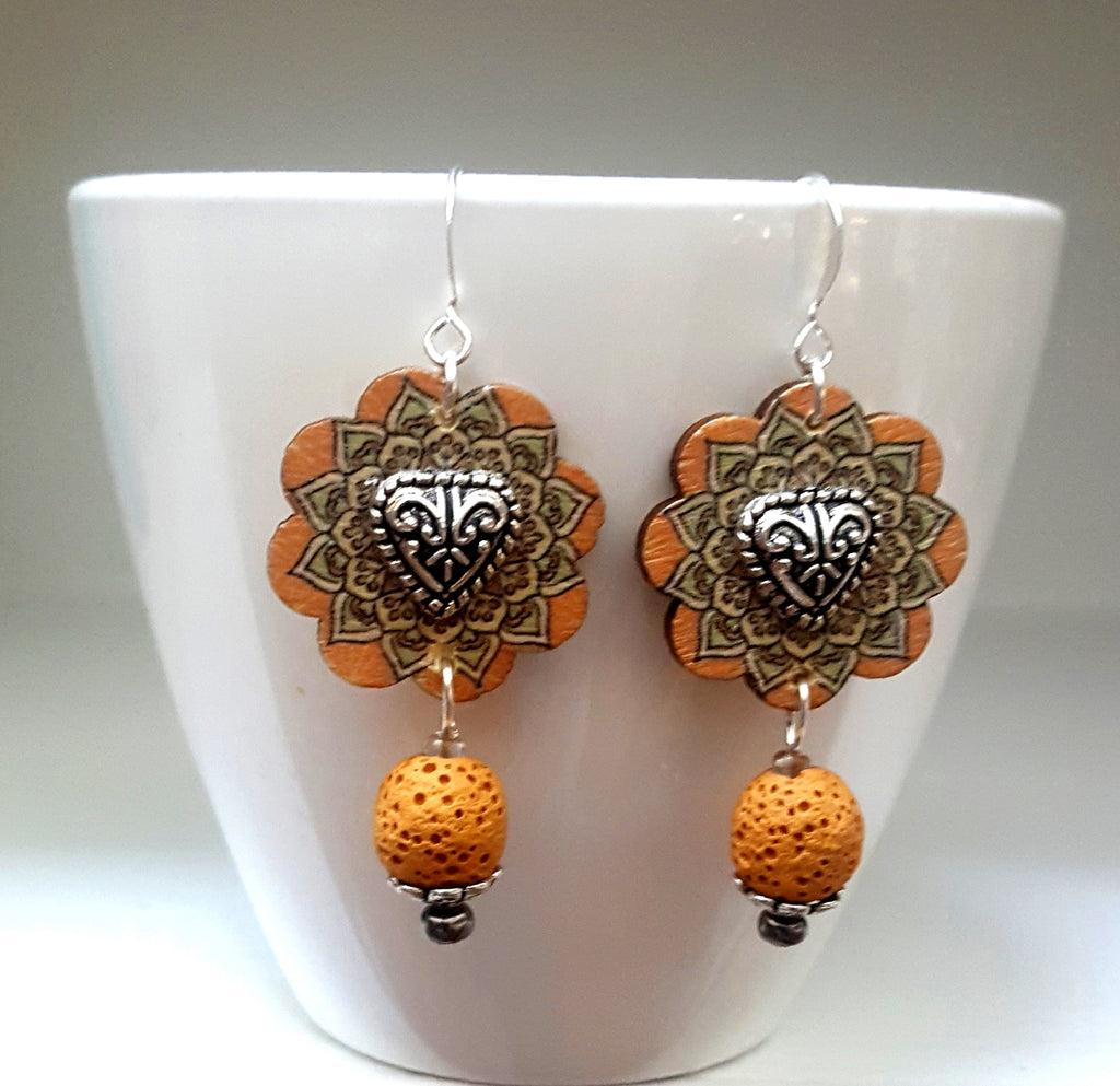 Hand Painted Flower Button with Heart Center & Lava Rock Dangle Earrings | Yellow - Lunga Vita Designs