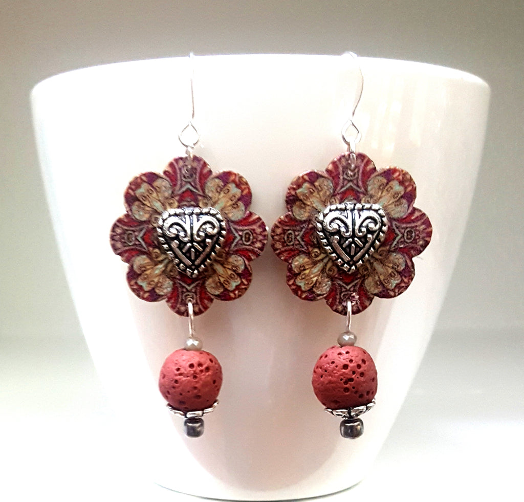 Hand Painted Flower Button with Heart Center & Lava Rock Dangle Earrings | Burgundy - Lunga Vita Designs