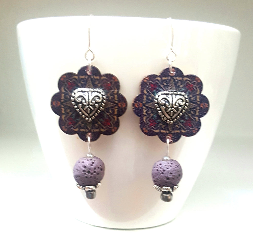 Hand Painted Flower Button with Heart Center & Lava Rock Dangle Earrings | Purple - Lunga Vita Designs