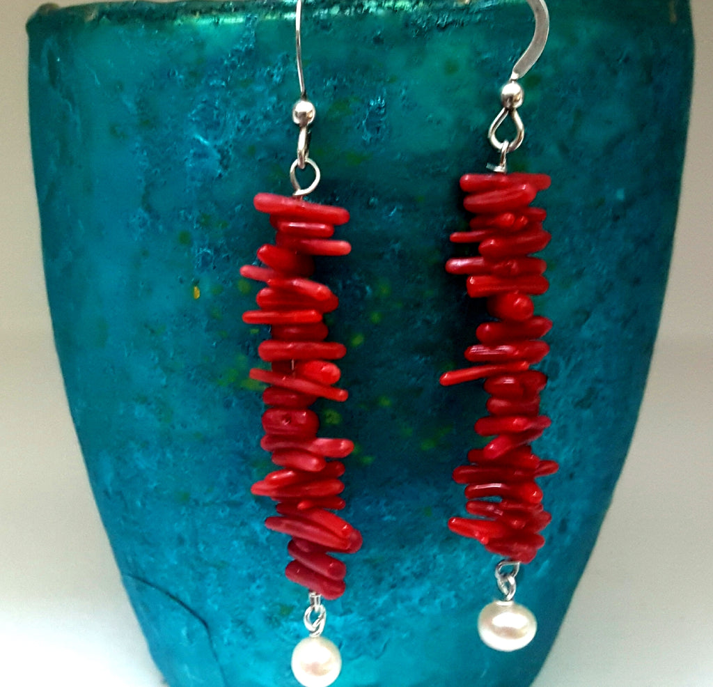 Natural Red Coral Layered Earrings with Freshwater Pearl - Lunga Vita Designs