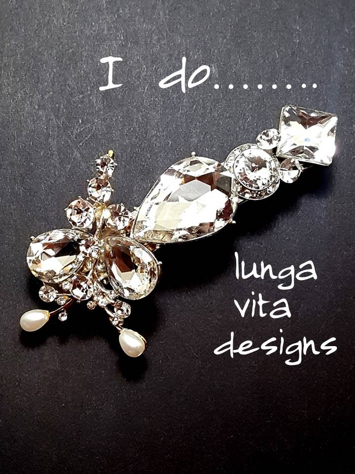 Romantic Clear Crystal and Cubic Zirconia Hair Barrette - Lunga Vita Designs