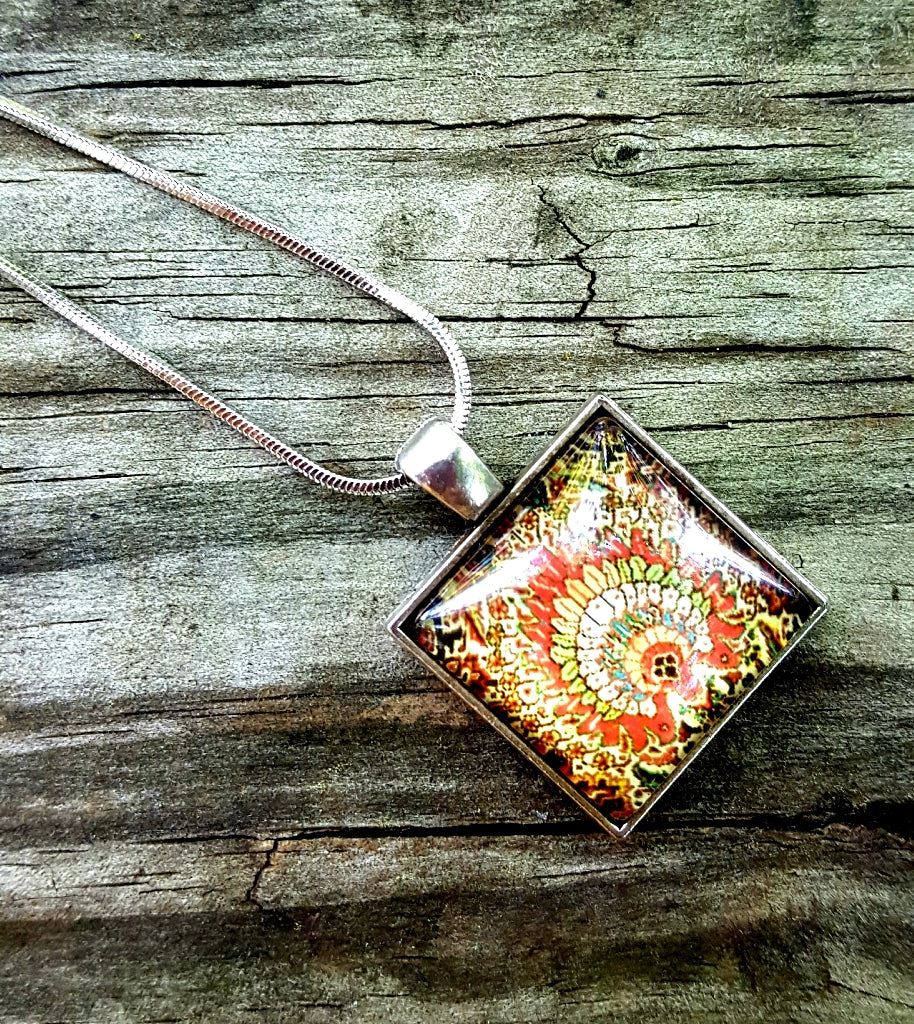 Square Glass Pendant | Paprika - Lunga Vita Designs
