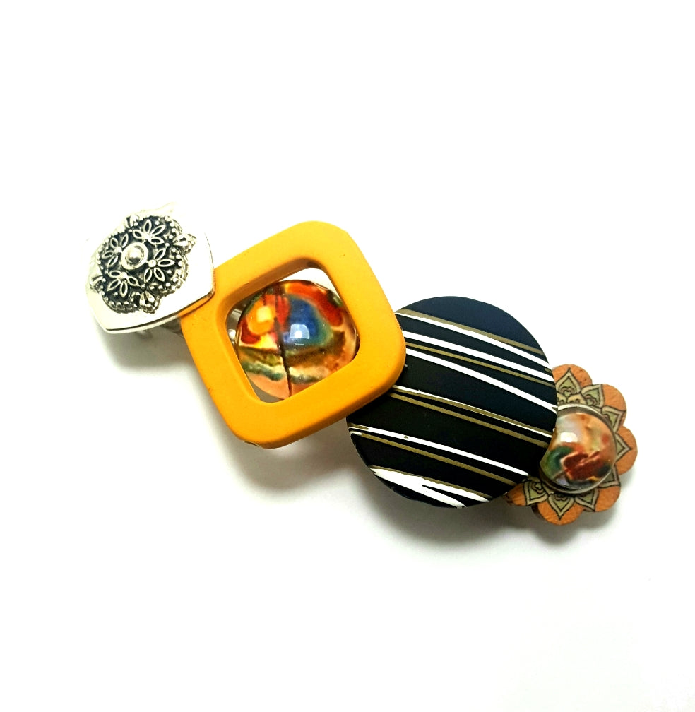 Black and Yellow Stripes and Circles Hair Barrette | Handmade - Lunga Vita Designs