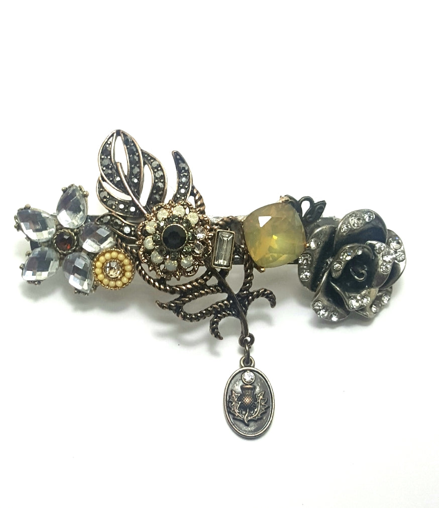 Crystal Found Objects Vintage Hair Barrette - Lunga Vita Designs