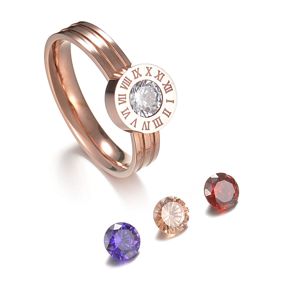 Roman Numeral Ring with Interchangeable Cubic Zirconia | Rose Gold - Lunga Vita Designs