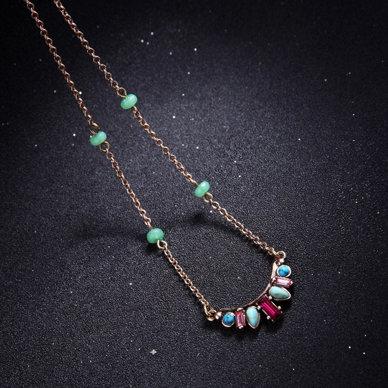 Delicate Fuchsia and Mint Necklace - Lunga Vita Designs