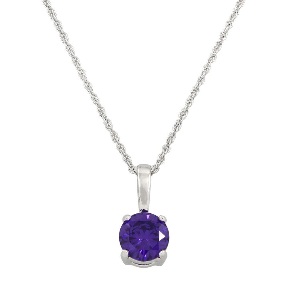 Classic Cubic Zirconia Solitaire Necklace | Purple - Lunga Vita Designs