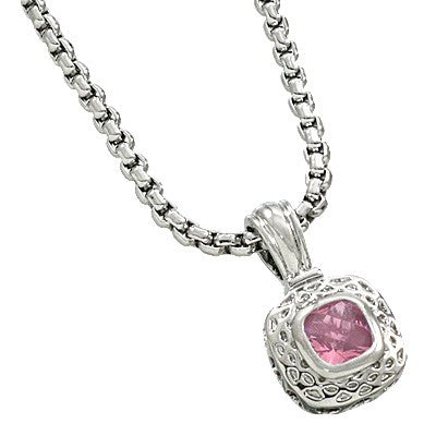 PINK CUBIC ZIRCONIA PENDANT NECKLACE