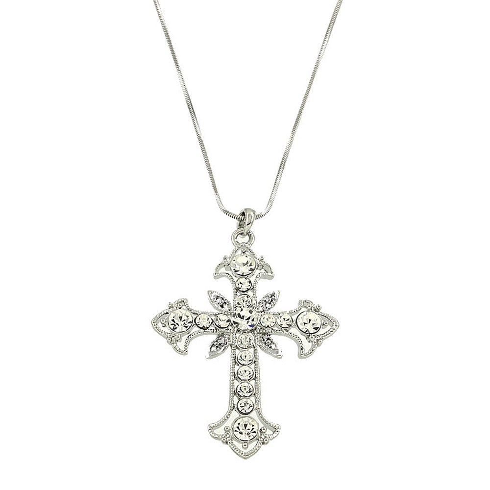Crystal Cross Necklace | Clear - Lunga Vita Designs