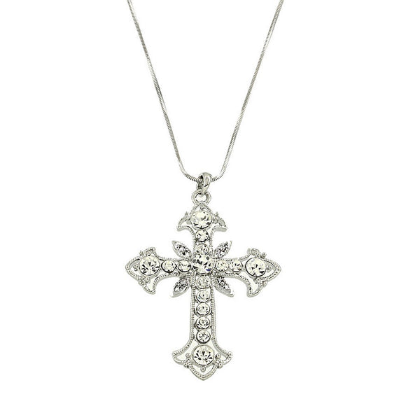 CRYSTAL CROSS NECKLACE | CLEAR