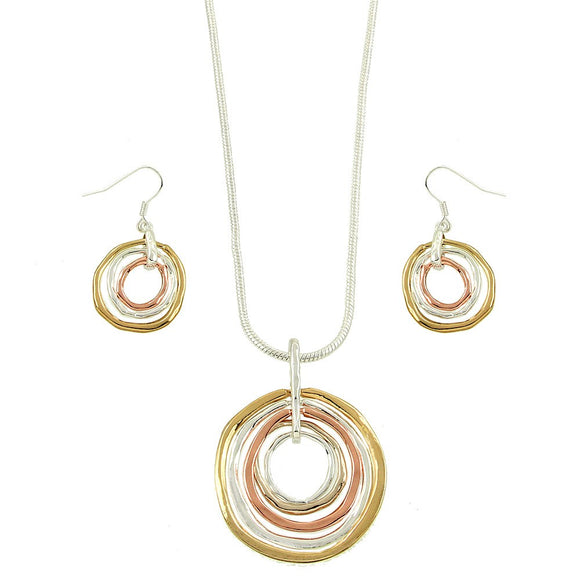 TRICOLORED CIRCLE NECLACE SET