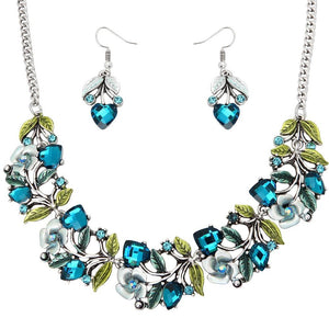FLORAL NECKLACE SET  - AQUA - SILVER