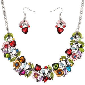 FLORAL NECKLACE SET - MULTICOLORED