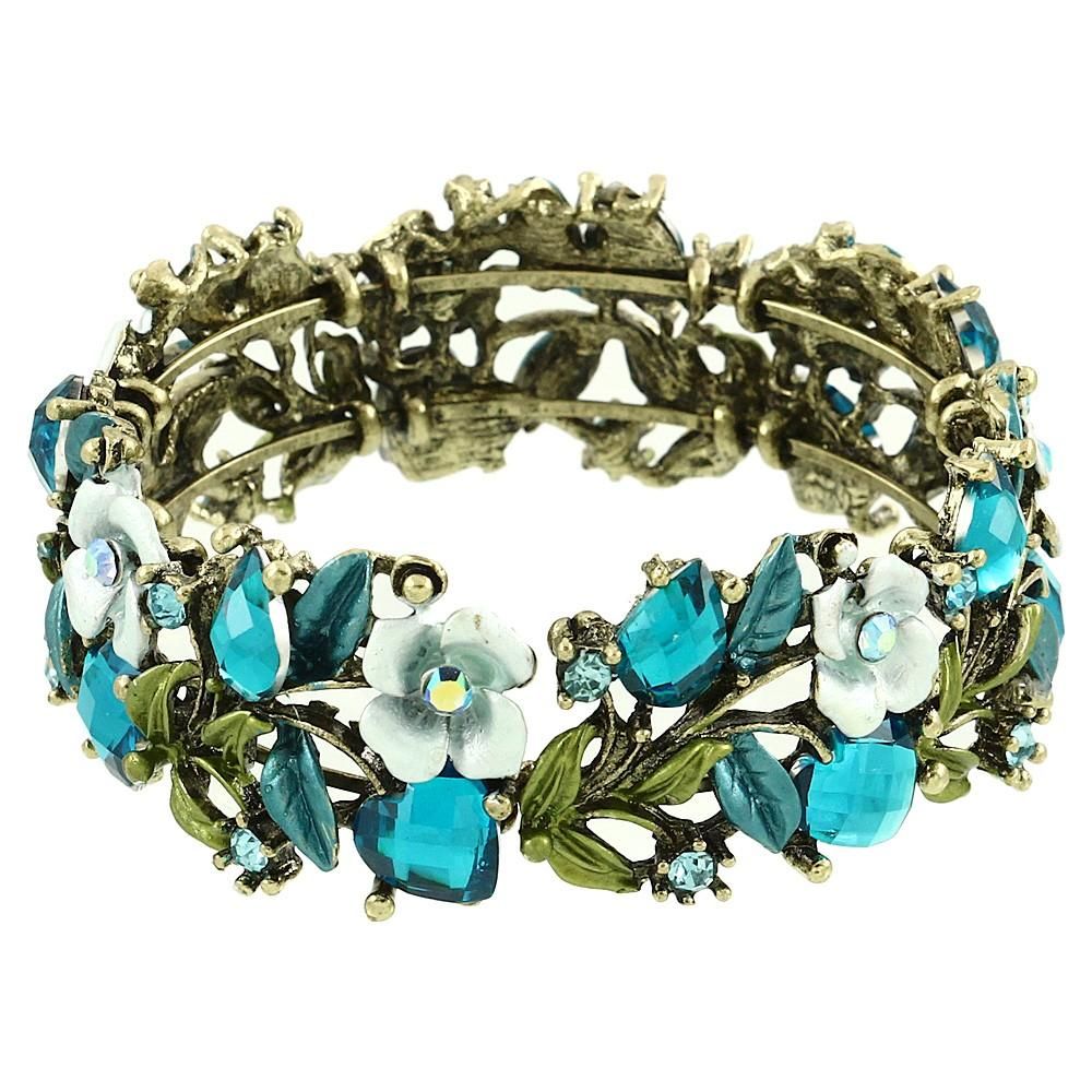 Floral Colorful Resin & Rhinestone Bangle Bracelet | Blue - Lunga Vita Designs