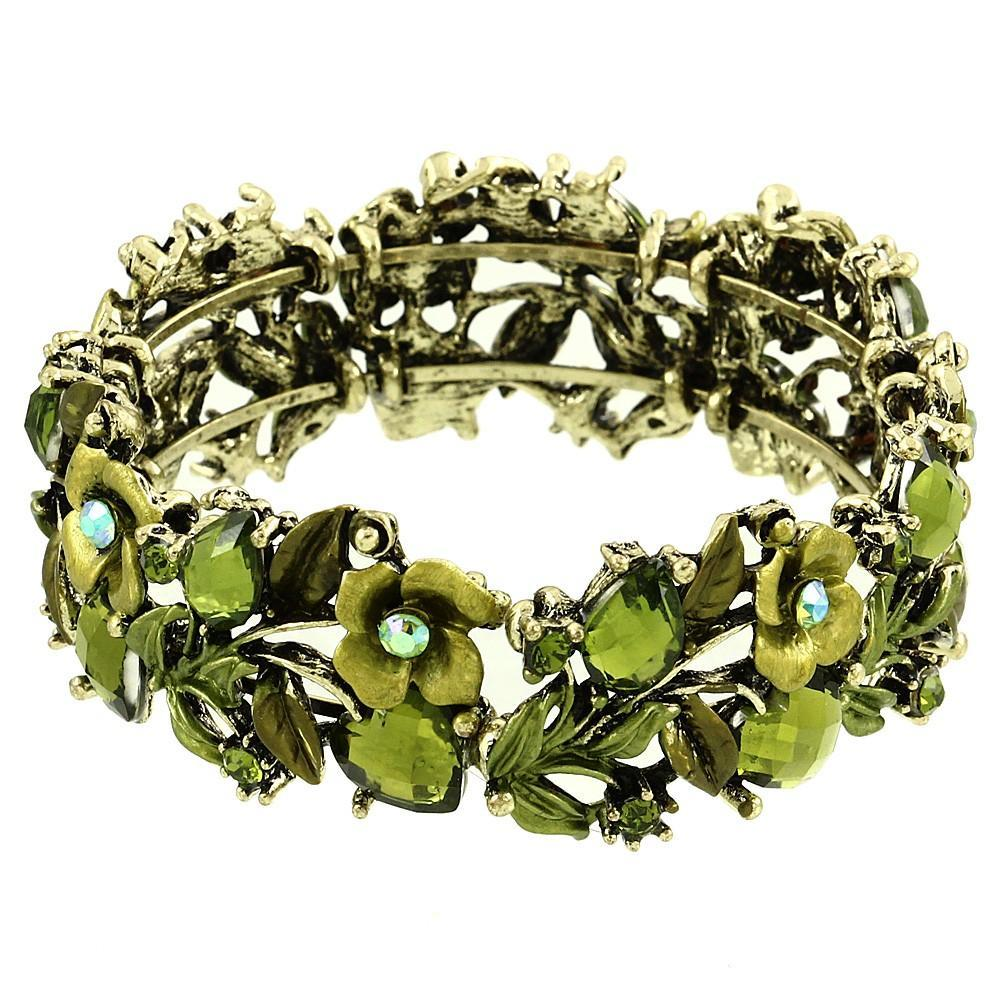 Floral Colorful Resin & Rhinestone Bangle Bracelet | Green - Lunga Vita Designs