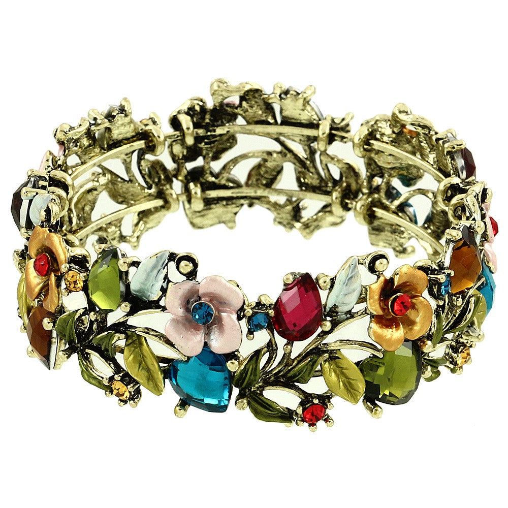 Floral Colorful Resin & Rhinestone Bangle Bracelet | Multicolor - Lunga Vita Designs