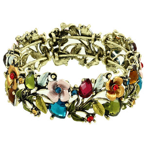 FLORAL CUFF BRACELET - MULTICOLORED -WIDE